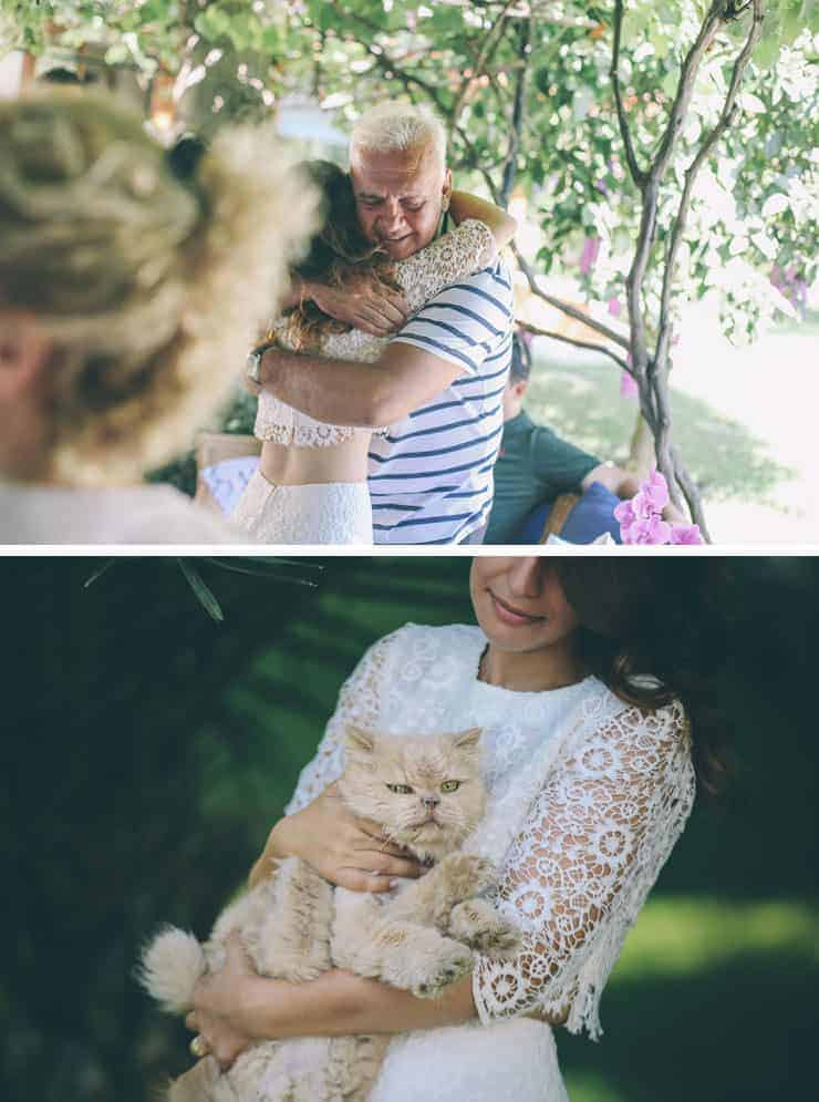 bride and dad and cat