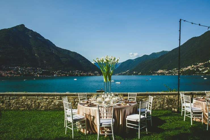 Como Lake Villa Pliniana weddings set up