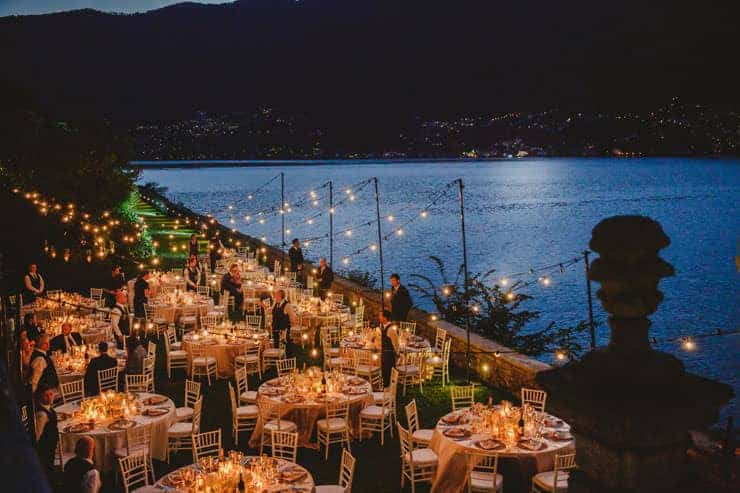 Luxury Villa Pliniana Wedding dinner