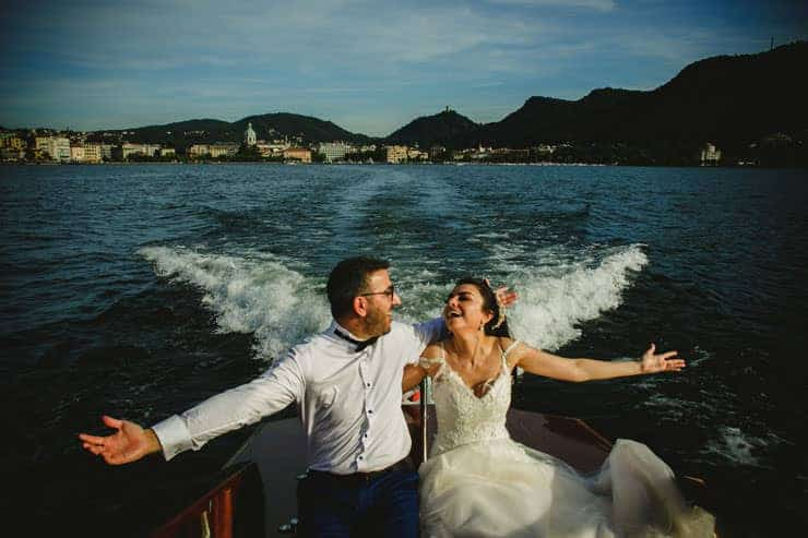 Como Lake Boat Wedding Photos - Drone