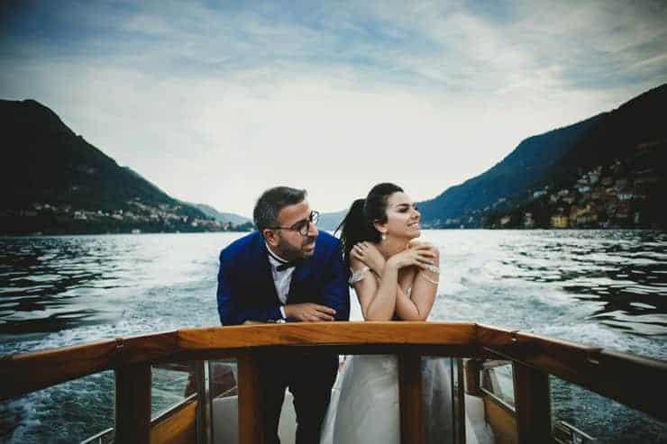 Como Lake Boat Couple Portrait Session