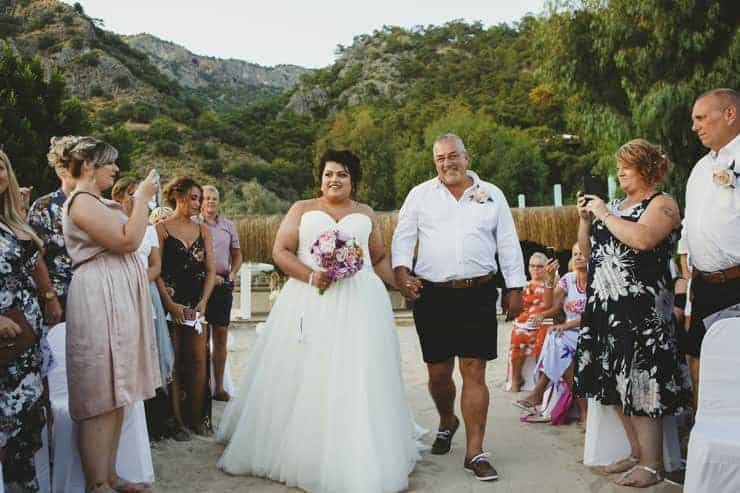Oludeniz Billys Beach Wedding Photos - father and bride