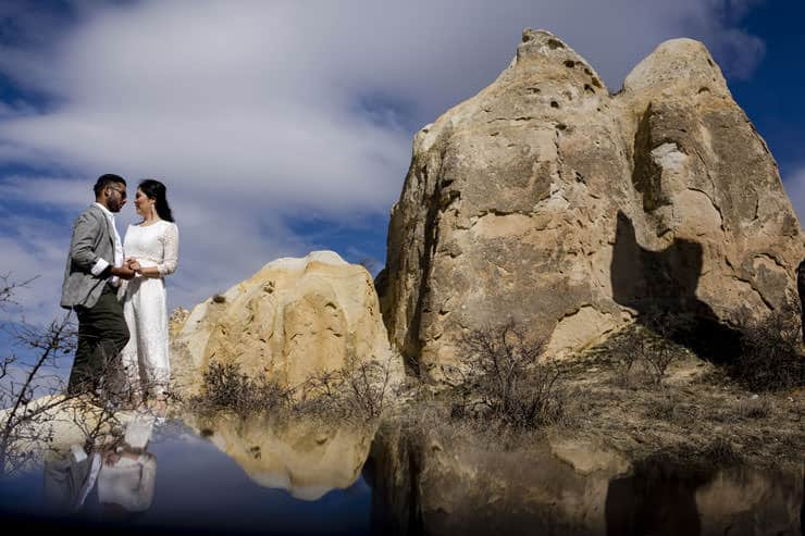 Pre-wedding photos at Sultan Cave Cappadocia - drone