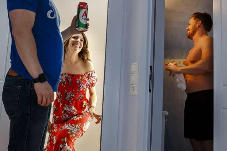 Santorini Wedding Photos - groom and the bride at the villa