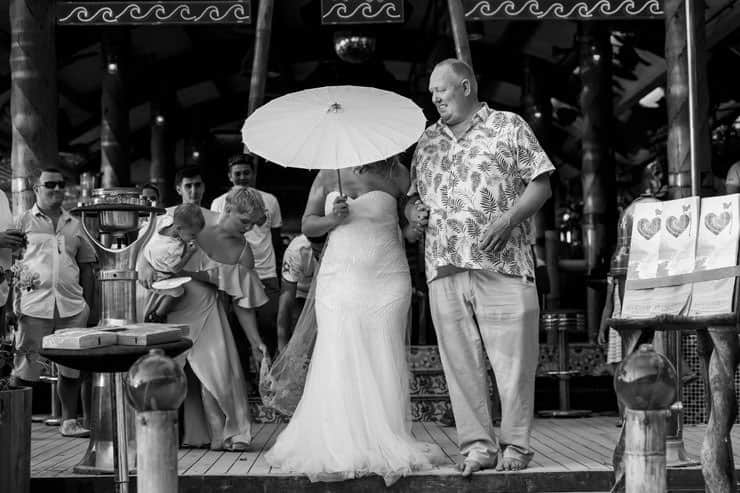 Fethiye Help Beach Wedding Photographs - Dad and Bride