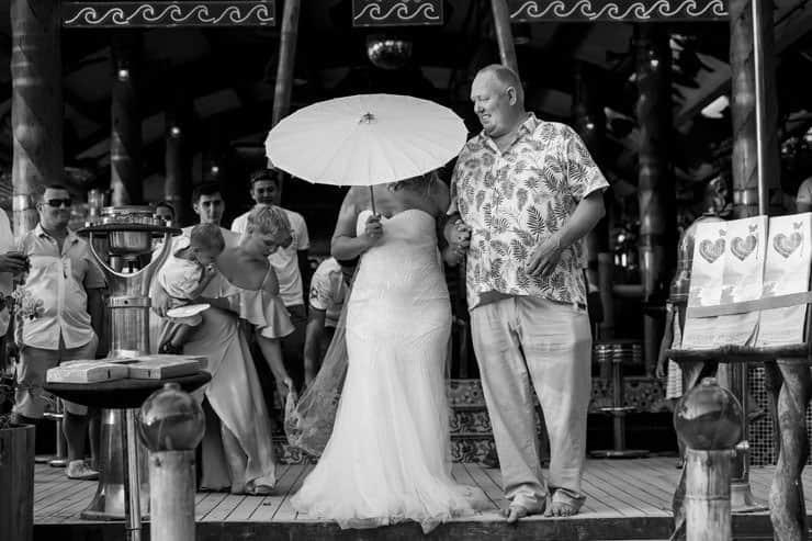 Fethiye Help Beach Wedding Photographs - Dad and Bride