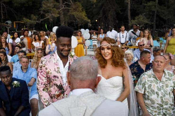 Fethiye Help Beach Wedding Photographs - Bride and Groom at Ceremony