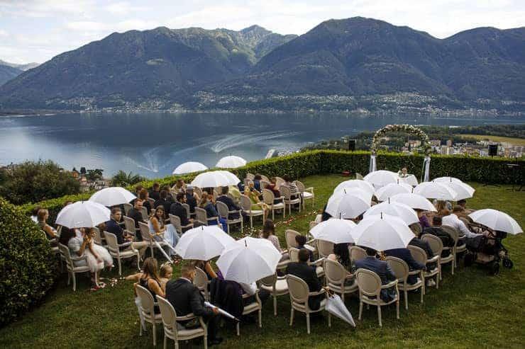 Villa Orselina Locarno Wedding Ceremony -rain