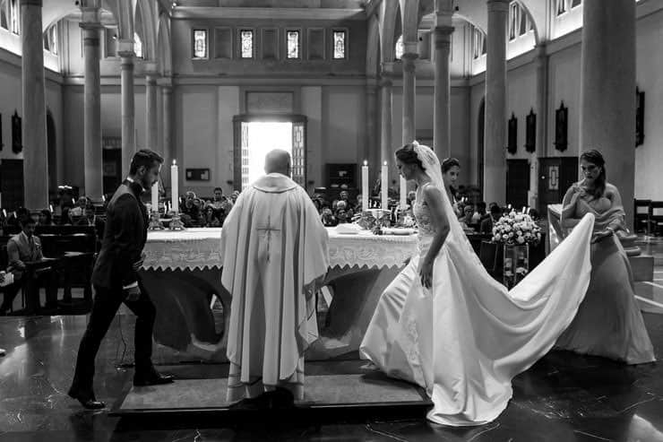 Italy Milan Church Wedding, bride and father